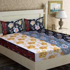 100 Percent Cotton Double Bedsheet With 2 Pillow Covers (code - Rg-cb-15) - Bed Sheets