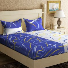 100 Percent Cotton Double Bedsheet & 2 Pillow Covers - (code - Rg-ncb-217) - Bed Sheets