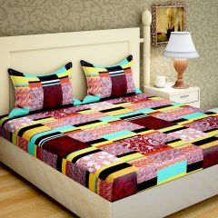 100 Percent Cotton Double Bedsheet & 2 Pillow Covers - (Code - RG-NCB-331C)