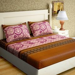 100 Percent Cotton Printed Cotton Double Bed-sheets With 2 Pillow Covers (Code - RG-NCB-327)