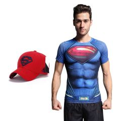 Superman Dry fit 3D gym compression T-Shirt with Baseball cap free for Men   by Treemoda (Code -TM_CC_CAP_Combo_4)