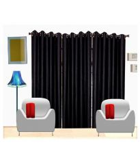 curtain 3 Piece Door Curtain, 7ft, Black