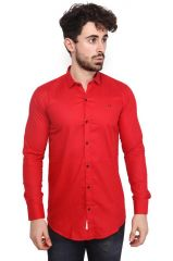 Mr. Stag Plain Men's Red Colour Full Sleeves Shirt (Code - SHIRTEB001-PA)