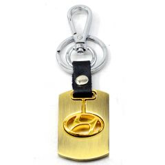 Premium Quality Metallic Swinging Hyundai Logo Keychain with Chrome Metal Locking Key chain