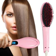 Gadgetbucket Electric Comb Brush Fast Hair Straightener Brush Simply Hair Straight brush Multicolour with Temperature display