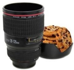 Camera Lens Coffee Mug Flask with Cookie Holder, Black