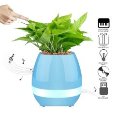 UnTech Flower Pot with Bluetooth Music Speakers LED Lights and Touch Control (Color May Vary)