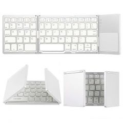 UnTech Foldable Bluetooth Keyboard With Touchpad For All Devices Windows Android Tablet MacBook Pro (White)
