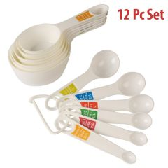 Gadgetbucket Plastic Measuring Cups and Spoon Set with Ring Holder, 12 Piece Set (White)