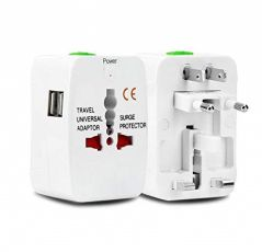 UnTech Travel Power Plug with Built in Dual USB Charger Ports AC Outlet Adapters (Pack 1)