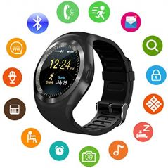 UnTech Y1 Watch Touch Screen Micro SIM Card with Bluetooth Camera  for iOS Android (Black)