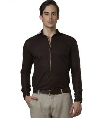 Lisova Brown Mens Slub Cotton Plain Casual Slim Fit Shirt
