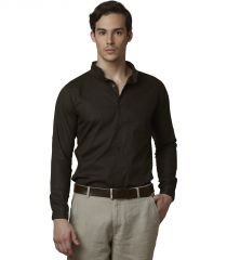 Lisova Brown Men's Chines CollarPlain Formal Slim Fit Shirt