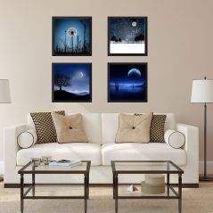 RE-DESIGN MATT black framed paintings( set of 4)-6x6 inch each