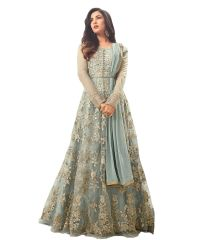 Krishna Tex Desinger Net Grey Embroidered Semi Stitched Long Anarkali Suit (code - kts2556)