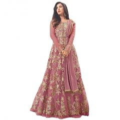 Krishna Tex Deigner Light Pink Embroidered Semi Stitched Long Anarkali Suit  (code - kts2557)