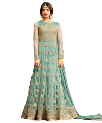 Designer Net Sky Blue Color Embroidered Anarkali Suit (Code - kts2648)