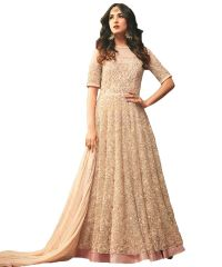 Designer Net Cream Color Embroidered Anarkali Suit (Code - kts2651)
