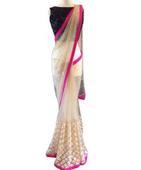 Designer White Net With Sequence Embroidery Work Saree(Code - kts7096)