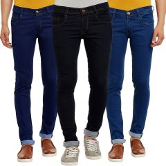 Waiverson Slim Fit  Men's Multicolor Jeans(Pack of 3) (Code - DP-1001-2-3-3DNM)
