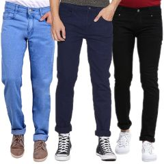 Waiverson Slim Fit  Men's Multicolor Jeans(Pack of 3) (Code - DP-1007-8-9-3DNM)