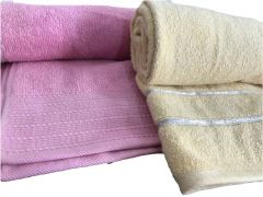 Krish 100% Cotton Bath Towel 670 GSM Mustard Yellow   580 GSM Pink ( Code - TWMYLW PINK)