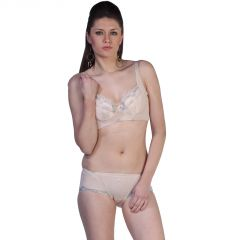 0b7964db78 Fascinating Lingerie-Alluring Embroidered Fascinating Cream Bra With  Matching Panty Set-(Code-