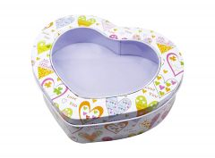 Heart Shape Tin Box Chocolate Packaging Box with Clear Window