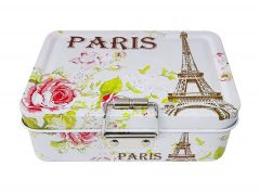 Lock Case Tea Candy Storage Tin Box Jewelry Container Sundries Organizer - Paris