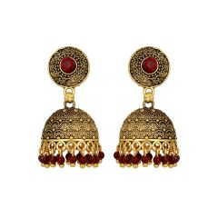 Piah Alluring Antic Black Matel Gold plating  oxidised with red beads Brass Jumkhi  Earring for Women'(code-9047)