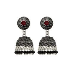 Piah Appeling Red Stone Oxidised Silver Plated Jhumka with Black Beads Earrings Brass Jhumki Earring'(code-9050)