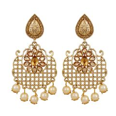 Piah Artificial Classic Net LCT Plain Crystal Alloy Dangle Pearl Earrings'(code-9138)