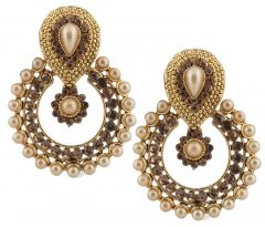 Piah Fashion Antique Gold Finish Ravishing Design Pearl Dangle Earrings'(code-9221)