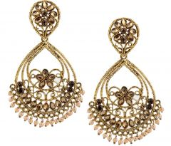 Piah Fashion Floral Shape With Pearl Dropping Fashion Earrings For Women'(code-9249)