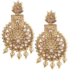 Piah Fashion Gold Plated Drop Earrings with Pearl Border Brass Dangle Earring'(code-9270)