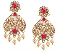 Piah Fashion Gold Plated  Full LCT & Pink & With Pearl Earring For Women and Girl'(code-9272)