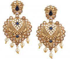 Piah Fashion Blue Stone Gold Finishing Dangle Earrings'(code-9297)