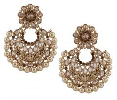 Piah Fashion Appealing Gold Finishing Pearl Dangle Earrings'(code-9320)