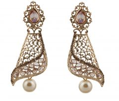 Piah Fashion Pearl LCT Stone Dazzling Gold Finishing Dangle Earrings'(code-9324)