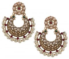 Piah Fashion Intricately Filigiree Design Gold Plated Multi Color Earrings For Women Zinc Dangle Earring'(code-9335)