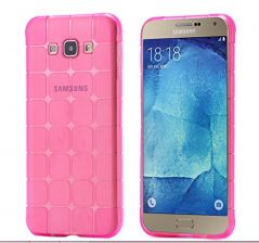 TPU/Rubber IceCube Design Transparent Back Cover for Samsung Galaxy J7 (2015) - Transparent pink