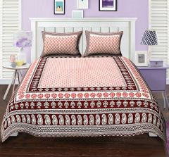 286cce04dab3 TEXSTYLERS CLASSIC DOUBLE BED SHEET BOOTI PAISLEY RED BLOCK STYLE WITH 2  PILLOW COVERS( code