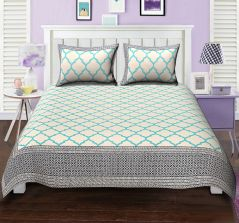 Texstylers Elite The cusrious window Turquoise Block style Double bed sheet with 2 pillow covers - ( code - El_dbl_11 )