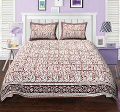 Texstylers Elite Gad Paisley design Orange Block style Double bed sheet with 2 pillow covers - ( code - El_dbl_37 )
