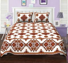 426ad08687 Texstylers Elite Super Sonic Geometric design Orange Block style Double bed  sheet with 2 pillow covers