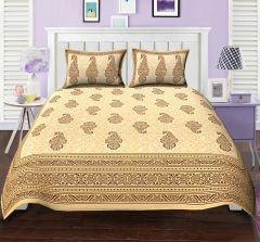 TEXSTYLERS ETHNIC PRINT DOUBLE BED SHEET BIG PAISLEY GOLD BLOCK STYLE WITH 2 PILLOW COVERS( code - Et_Dbl_01 )