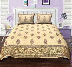 TEXSTYLERS ETHNIC PRINT DOUBLE BED SHEET REK PAISLEY MAROON BLOCK STYLE WITH 2 PILLOW COVERS( code - Et_Dbl_05 )