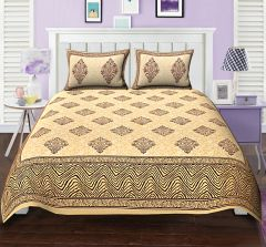 TEXSTYLERS ETHNIC PRINT DOUBLE BED SHEET TAJ BOOTA MAROON BLOCK STYLE WITH 2 PILLOW COVERS( code - Et_Dbl_08 )
