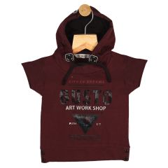 Gusto Baby Boy's Maroon Cotton Blend Hooded T_Shirt_(Code-GJ199_MARUN)