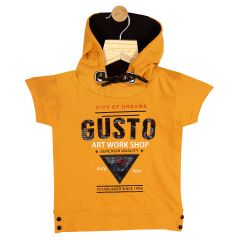 Gusto Baby Boy's Mustard Cotton Blend Hooded T_Shirt_(Code-GJ199_MUSTARD)